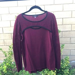 August Silk burgundy sweater with front cut out